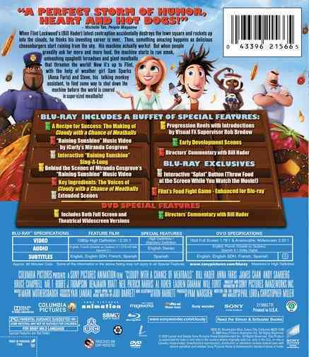 CLOUDY WITH A CHANCE OF MEATBALLS BY HADER,BILL (Blu-Ray)